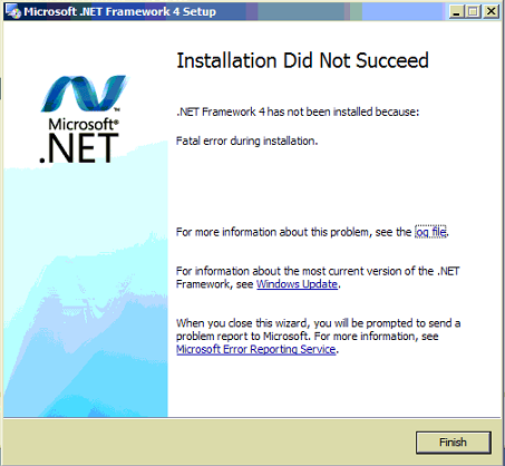 Error: \'Fatal error during installation\' when installing .NET 4 Framework  ...